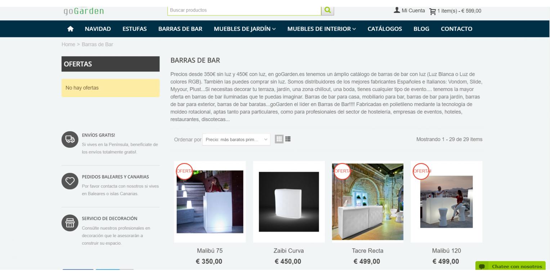 Dise o tienda online muebles de jad n world motion for Jardin online